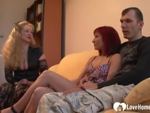 Threesome banging with a redhead and blonde watching.mp4