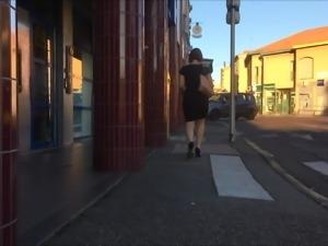 my wife en black dress and heels