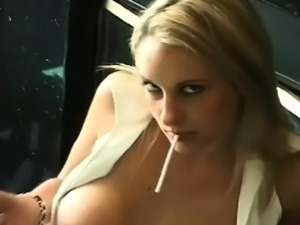 Provocative beauty playing with her pussy and wobblers
