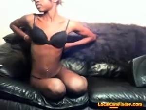 cute slim ebony with glasses goes naked and rub clit