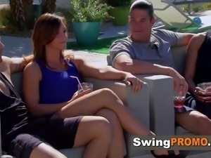 New swingers have drinks then ready 2 fuck