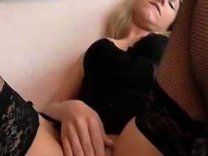 Hot German blonde in black stockings gets creampie