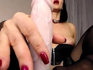 Stockings clad preggo french maid lactates in fetish solo