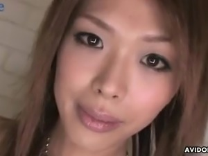 Svelte Japanese hoe Rina gets all lubed before being masturbated