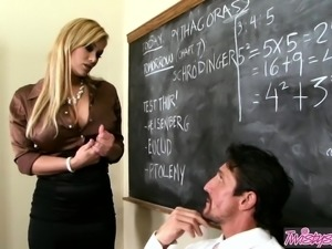 Hot blonde Shyla Stylez wants the principals cock