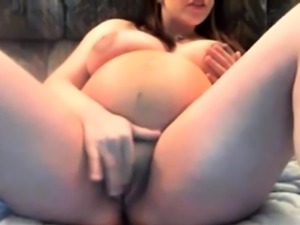 Pregnant Brunette Rubs One Out