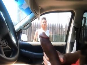 Cute ebony girl watches a black guy caressing his big shaft