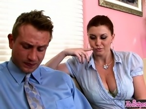 Big tit milf Sara Stone rides her bosses dick