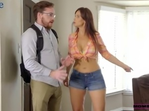 Awesome housewifely beauty Syren Demer provides her hubby with a cock ride
