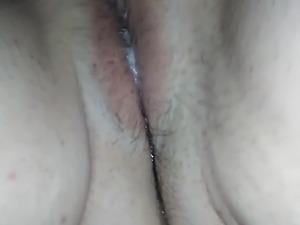 Fingering pussy full of sperm 1