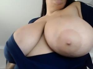Babe in white stocking whit big boobs loves to masturbate