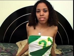 Pretty ebony teen with perky titties chokes on a black cock
