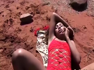 outdoor threesome orgy with african babe