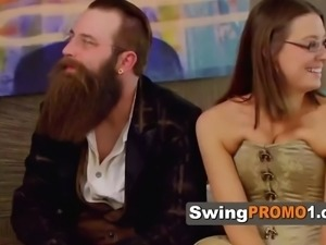 Unusual couple enjoys some pre party fun at meet and greet with other couples