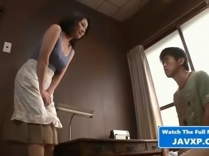Hot asian milf gets taken by stepson