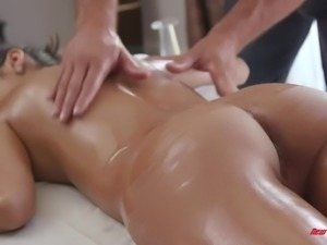 All lubed girlie with juicy tits Gianna Dior is fond of riding her masseur