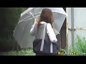 Japanese teen babe pisses
