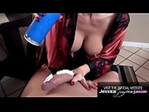 Hot MILF Jessica Jaymes sucking a monster cock with whip cream