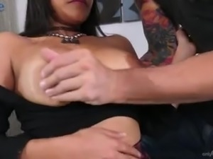 Hot and appetizing buxom Latina nympho Aryana Amatista is eager to suck dick