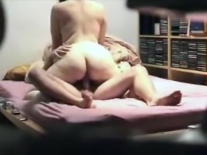 Hidden Cam Catches Thick Bitch Milking a Cock