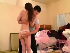 Sultry Japanese babe with perky titties gets fed a hard cock
