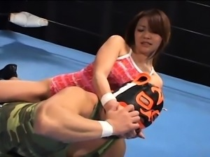 Sultry Japanese wrestler enjoys a hard fucking in the ring
