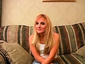 Petite blonde teen fucked for the first time on camera