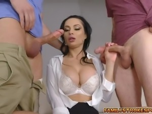Crystal gobbles cock sucking every drop of cum