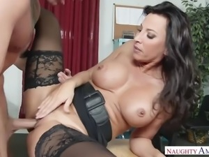 Lezley zen fucking in the desk with her tits