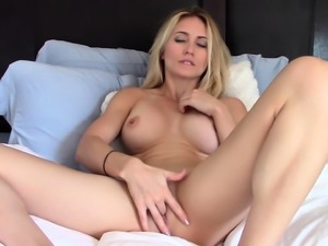 Sexy blonde babe Vega Vixen hot solo masturbation outdoors