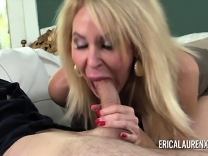 Naughty MILF Erica Lauren fucks a hung younger man