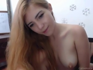 Model rides her dildo at home