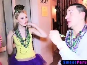 Naughty BFFs Mardi Gras turns into interracial fuckfest
