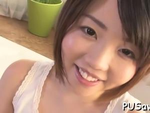 Shameless sweetie Airi Sawada is masturbating just for fun