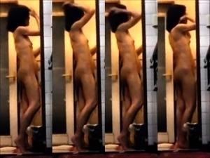 Voyeur spying on beautiful Japanese babes taking a shower