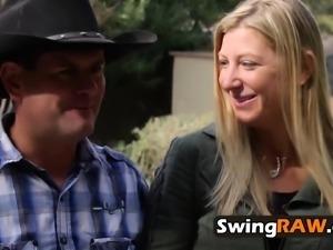 Amateur swinger babes fuck intensely.