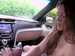 Perverted girlfriends feels up her tits and gives good blowjob in the car