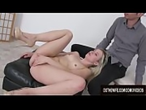 Tiny Wife Anna Rey Swallows Cum After Anal and Cuckold Witnesses It All