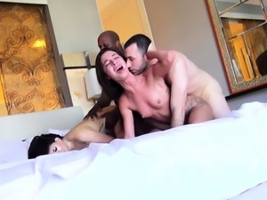 Interracial group fuck two on two