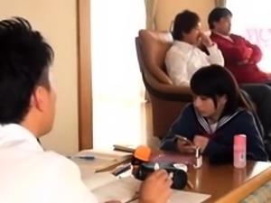 Jap teen in uniform sucks POV
