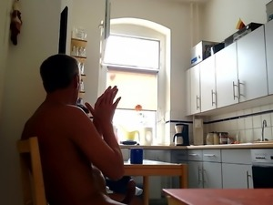 Colleague visits me - I strip naked and jerk in front of her
