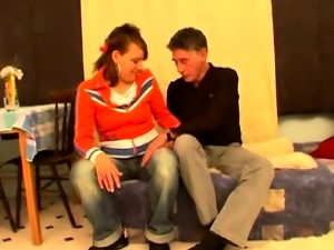 Charming young teen gets to play with an hard old 10-pounder
