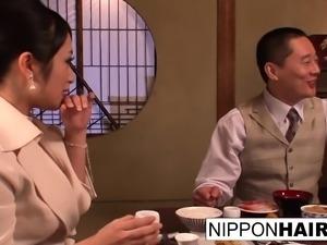 Business dinner meeting turns scandalous when a threeway
