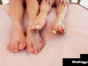 Thick Twats Nina Kayy & Angelina Castro Foot Fuck A Cock!