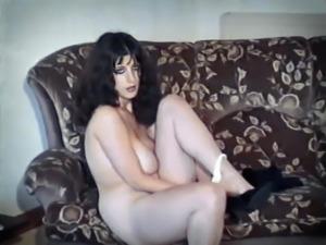 BACK IN BLACK - vintage big floppy tits striptease