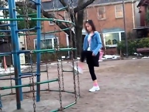 Lovely Japanese teen has three guys banging her tight cunt