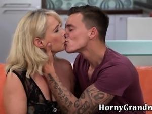 Blonde gran dribbles cum after sucking