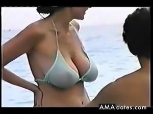 hot big tit mom at the beach