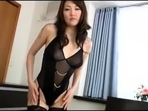 Hairy Asian cutie in lingerie and high heels loves to fuck