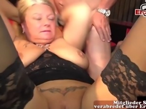 Mother and daughter anal creampie gangbang party with user